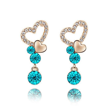 Classic Blue Heart Long Earring For Women Vintage Crystal Water Drop Brincos costume jewelry tassels earrings with stones