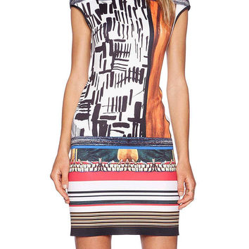 Abstract Art Print Dress With Capped Sleeve