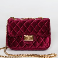Peggy Quilted Purse - Burgundy
