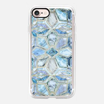Geometric Gilded Stone Tiles in Soft Blues iPhone 7 Case by Micklyn Le Feuvre | Casetify