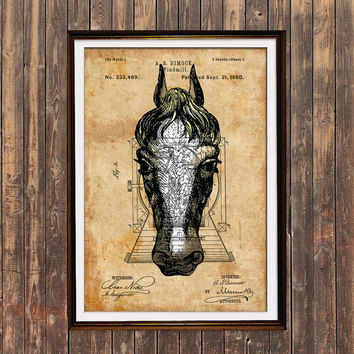 Horse poster Steampunk print Animal print Patent decor SOL116