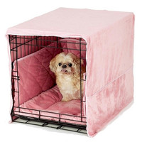 Plush Dog Crate Cover - Small/Dusty Pink