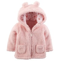 Carter's Hooded Sherpa Jacket - Baby Girl, Size: