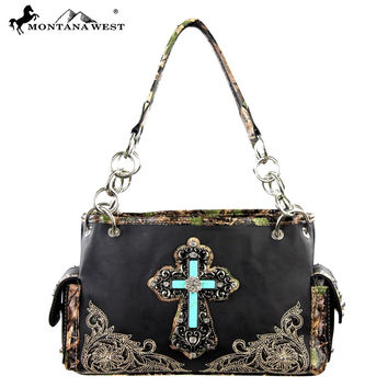 Montana West Turquoise Cross Handbag with Camo Inlay