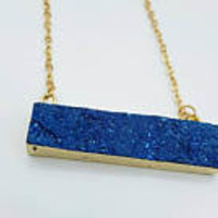 Blue rectangle druzy bar pendant necklace - horizontal bright blue druzy necklace - gift for her