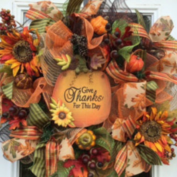 Welcome Fall Wreath, Pumpkin Wreath, Fall Deco Mesh, Fall Front Door Wreath, Fall Rustic Wreath, Fall Burlap Wreath, Fall Wreath