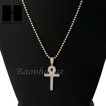 Iced Out Sterling Silver .925 AAA Lab Diamond ANKH Cross 2.5mm Moon Chain SS011