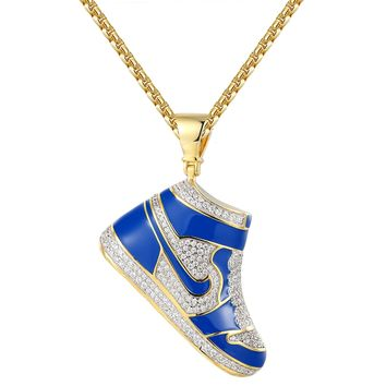 Iced out Blue Sport Shoes Sterling Silver Pendant Chain