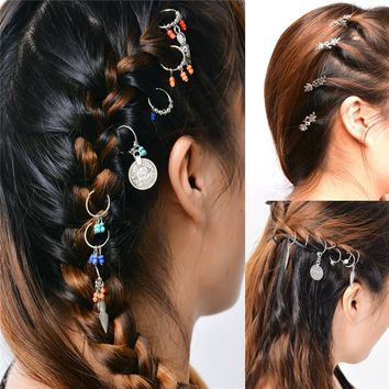 Boho Women Wedding Head Accessories Round Hairpins Hair Pin Girls Beads Pendant Hair Clip For Women Bride Hair Jewelry tiara