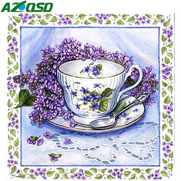 5D Diamond Painting Purple Flower Teacup Kit