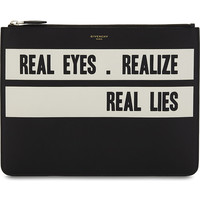 GIVENCHY Givenchy Real Eyes calfskin leather pouch