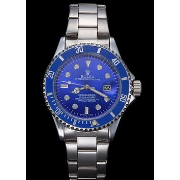 Rolex Fashion Women Men Casual Business Movement Lovers Watch Wrist Watch Silvery Watchband+Blue Watch Dial+Blue Watch Shell I-YY-ZT