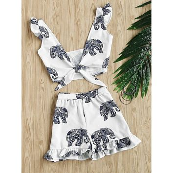 Random Ornate Elephant Print Knotted Top With Frill Shorts
