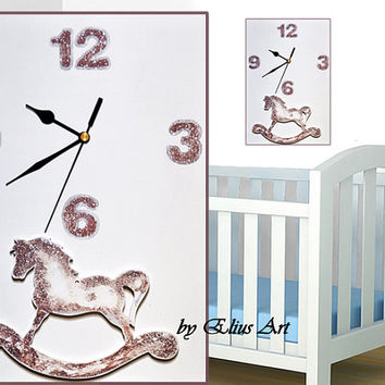 Wooden wall clock for baby child white & brown wood clock,nursery wall decor, gift, nursery decor with rocking horse