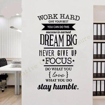 'Work Hard, Dream Big, Stay Humble' Motivational Wall Art Decal