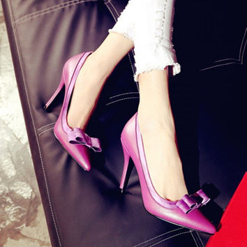 Pale Violet Soft Leather Butterfly Pointed Toe High Heel Summer Shoes [4920605892]