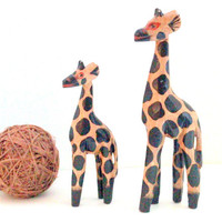 Vintage Carved Mama and Baby Giraffe Set Carved Painted Wood