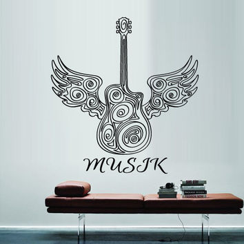 Wall Decal Vinyl Sticker Decals Art Decor Design Guitar Notes Melody Electro Music Musicant Band Rock Star wings Bedroom Dorm gift (m1331)
