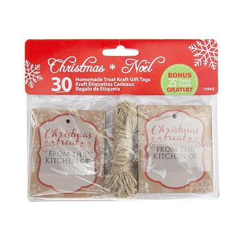 Christmas Homemade Treat Holiday Kraft Gift Tags, 3-Inch, 30-Piece