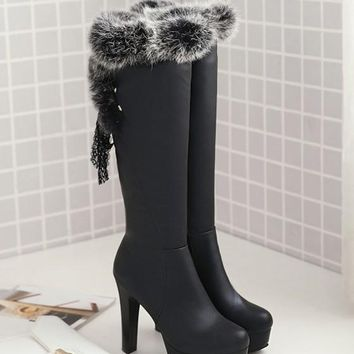 New Black Round Toe Chunky Faux Fur Patchwork Fashion Knee-High Boots