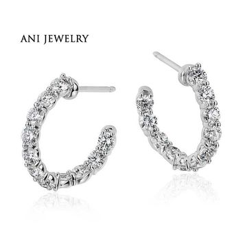 18KT White Gold Women Circle Earrings 1.98 ct Certified I/S1 Natural Diamond Hoop Earrings