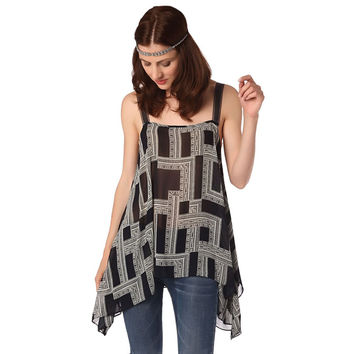 Navy blue top in geo print with contrast straps