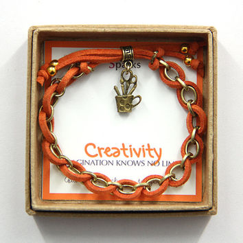Orange and Gold Creativity Charm Bracelet in a gift box, Graduation Gift, inspirational gift