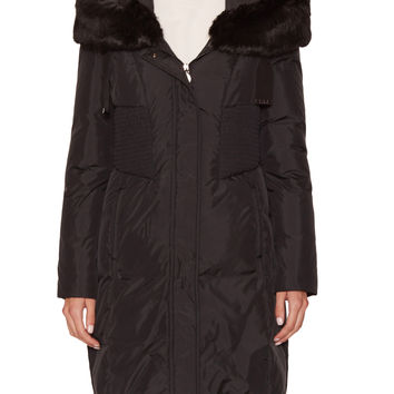 Tahari Outerwear Women's Nina Quilted Fitted Hooded Coat with Faux Fur Trim
