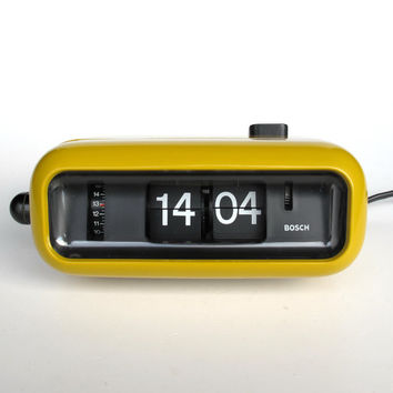 Vintage Flip Clock Alarm Clock / Bosch UDW2 / Retro Orange Yellow Table Clock / 70's Germany