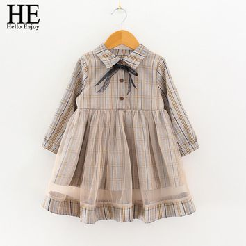 HE Hello Enjoy Kids Designer Girl Brands Long Sleeve Autumn Preppy Style Toddler Clothes Bow Plaid Princess Pretty Dress Winter