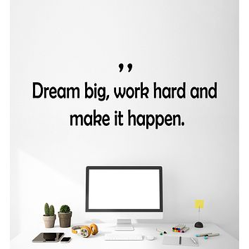 Vinyl Wall Decal Stickers Motivation Quote Words Work Hard Dream Big Inspiring Letters 2374ig (22.5 in x 8 in)