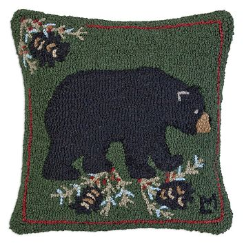 "Black Bear Hooked Wool Pillow 18"" L × 18""W"