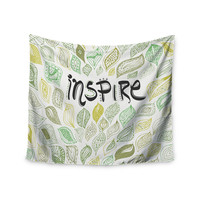 """Pom Graphic Design """"Inspire Nature"""" Green Yellow Wall Tapestry"""