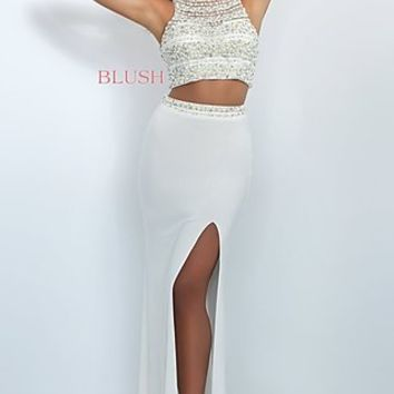 Glamorous Two Piece Blush Prom Dress with Slit