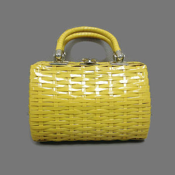 Vintage 1950s or 1960s Bright Yellow Vinyl Wicker Box Purse