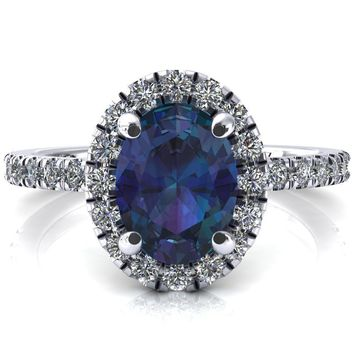 Talia Oval Alexandrite 4 Prong Halo 3/4 Micropave Engagement Ring