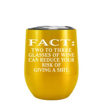 FACT Two To Three Glasses Reduces Risk on Translucent Green 12 oz Stemless Wine Tumbler