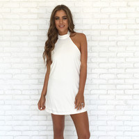 Cure All Halter Dress In White