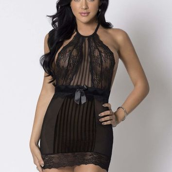 iCollection Lingerie Halter Striped Mesh Lace Chemise