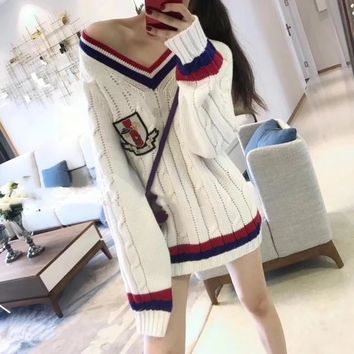 """""""Gucci"""" Women Badge Embroidery Multicolor Stripe V-Neck Middle Long Section Long Sleeve Knit Sweater"""