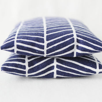 Herringbone Botanical Sachets, Scented Drawer Sachets, Modern Home Decor, Navy Blue and White