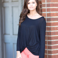 Black Long Sleeve Front Knot Top