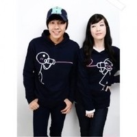 Cute Cartoon Lover Patterns Long Sleeve Hoodede Sweater--Lover's Clothes China Wholesale - Sammydress.com