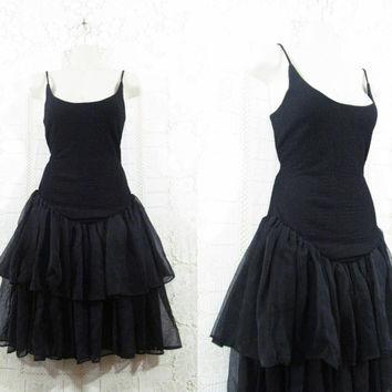 Vtg 90s Gothic Ballerina Layered Chiffon Low Back Steampunk Lolita Witchy Dress sz M
