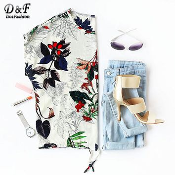 Printed Women T-Shirt Casual Girls Loose Summer T-Shirt Tropical Print Drawstring Hem T-shirt
