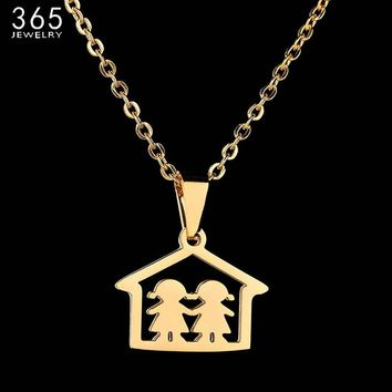 Hot New Gold Color Two Girls At Home Pendant Necklace Warm Mother Daughter Love Necklace For Mom Children Gift