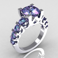 Modern Vintage 18K White Gold 20 Carat Alexandrite by artmasters
