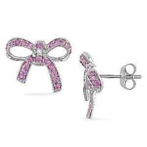 Lab-Created Pink Sapphire and Diamond Accent Bow Earrings in Sterling Silver - View All - Zales