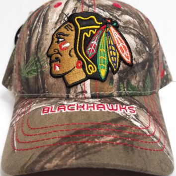Chicago Blackhawks Zephyr Cap Adjustable Snapback Stix Realtree Camo Hat NHL