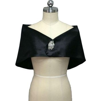 Black Bolero Women Cape Elastic Satin Wedding Wrap Evening Party Shrug with Brooch Bridal Jacket